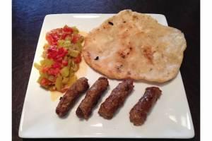 Ćevapčići with lescó and lángos, only this time the Ćevapčići was homemade